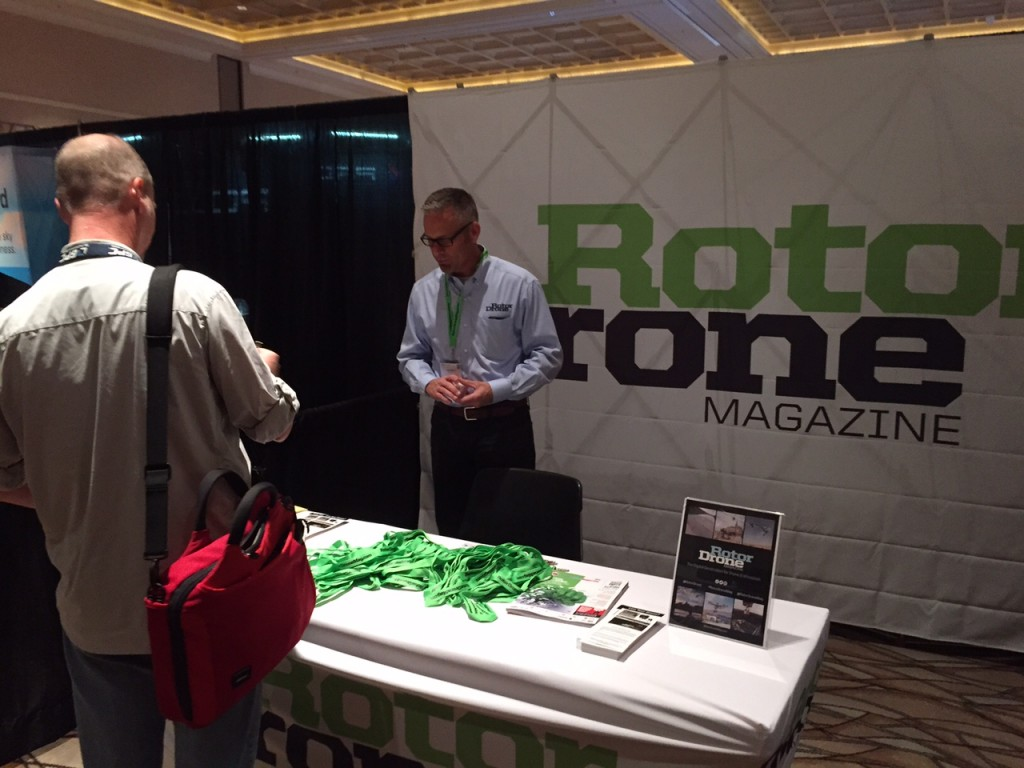 Mitch Brian at the RotorDrone Magazine booth at Interdone Las Vegas.