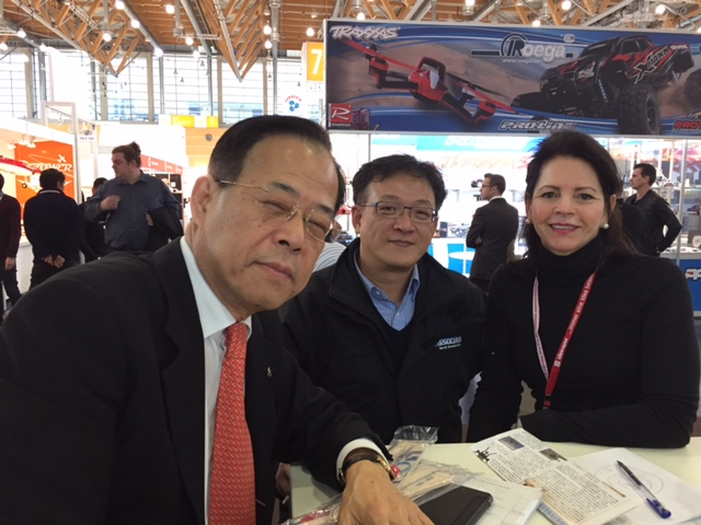 Enjoying the Nuremberg Toy Fair (from left to right): Ali Lai President and CEO, Thunder Tiger Corp; Jimmy Lai, Vice President, Thunder Tiger Corp; Yvonne DeFrancesco, executive vice President, Air Age Media.
