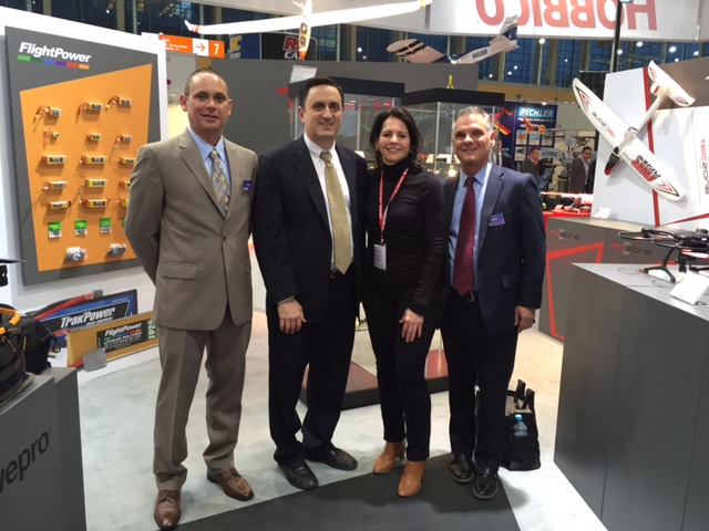On the show floor (from left to right): Jeff Johns, president, Axial; Rick Piester, vice president, Hobbico; Yvonne DeFrancesco, executive vice President, Air Age Media; and Jim Brown, vice president of advertising and marketing, Hobbico.