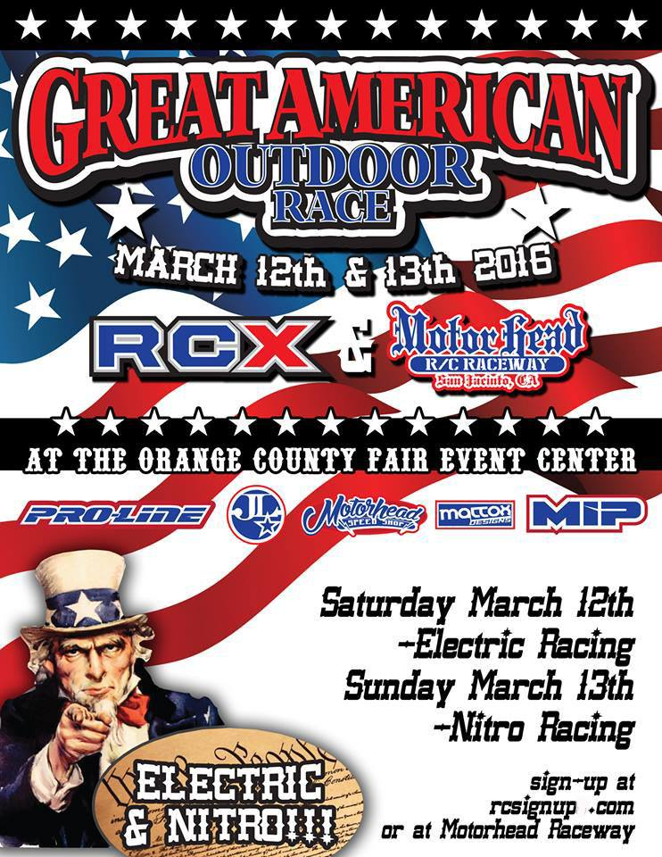 Great American Off Road Outdoor Race Surface Racing will be in full effect all weekend long at RCX during the GREAT AMERICAN OFF ROAD OUTDOOR RACE! RCX will feature a full RC Dirt surface track and host two full days of race action! Sat, March 12 will feature electric classes and nitro class racers battle on Sunday, March 13. Racers, sign up today at www.RCsignUP.com or at Motor Head Indoor Raceway!