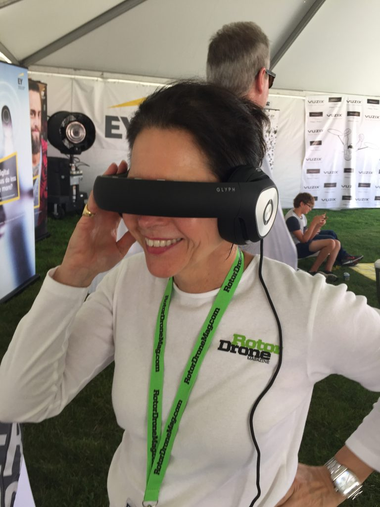 RotorDrone's Publisher, Yvonne, watches the onboard video feed from one of the competitors.